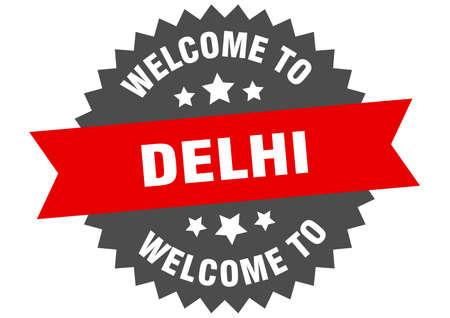 Delhi sign. welcome to Delhi red sticker 일러스트
