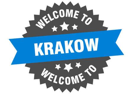 Krakow sign. welcome to Krakow blue sticker