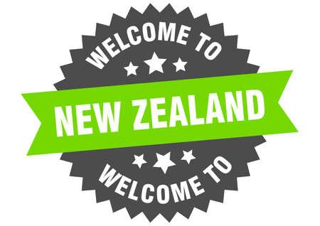 New Zealand sign. welcome to New Zealand green sticker Ilustracja