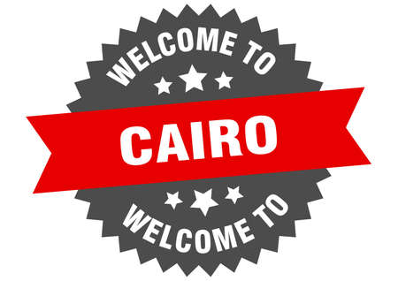 Cairo sign. welcome to Cairo red sticker Çizim