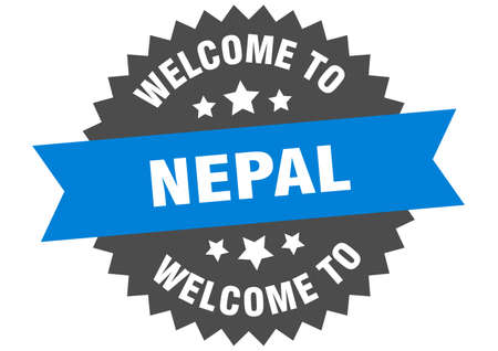 Nepal sign. welcome to Nepal blue sticker