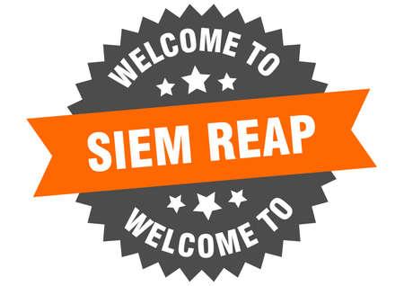 Siem Reap sign. welcome to Siem Reap orange sticker