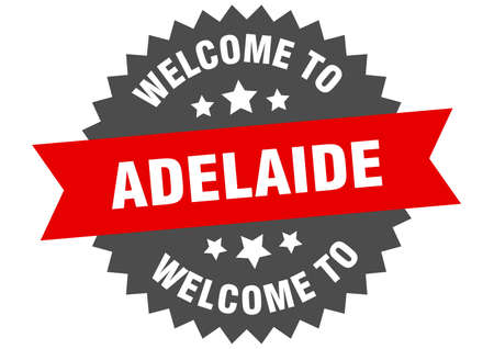 Adelaide sign. welcome to Adelaide red sticker