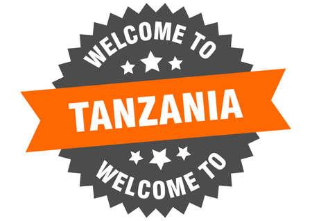 Tanzania sign. welcome to Tanzania orange sticker