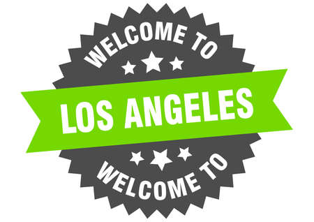 Los Angeles sign. welcome to Los Angeles green sticker
