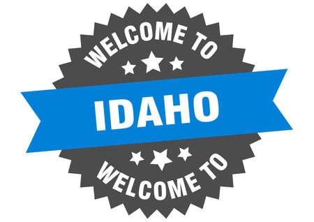 Idaho sign. welcome to Idaho blue sticker