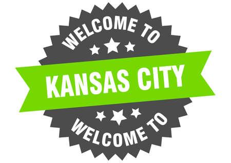 Kansas City sign. welcome to Kansas City green sticker