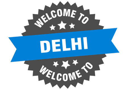 Delhi sign. welcome to Delhi blue sticker
