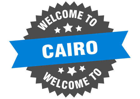 Cairo sign. welcome to Cairo blue sticker