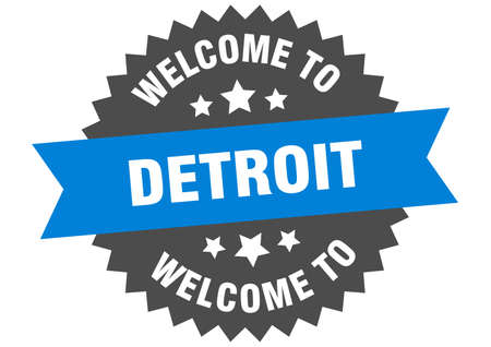 Detroit sign. welcome to Detroit blue sticker