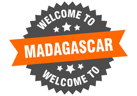 Madagascar sign. welcome to Madagascar orange sticker