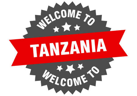 Tanzania sign. welcome to Tanzania red sticker  イラスト・ベクター素材