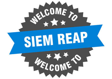 Siem Reap sign. welcome to Siem Reap blue sticker