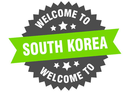 South Korea sign. welcome to South Korea green sticker
