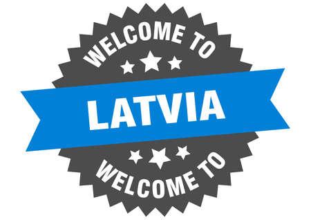 Latvia sign. welcome to Latvia blue sticker Illusztráció