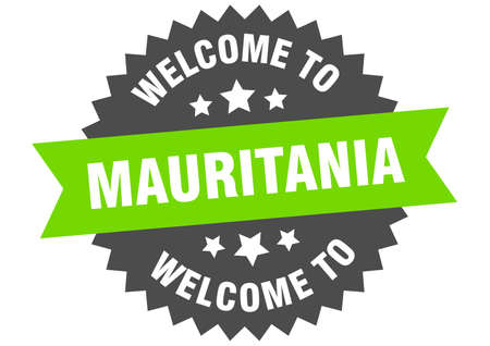 Mauritania sign. welcome to Mauritania green sticker