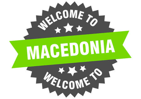 Macedonia sign. welcome to Macedonia green sticker