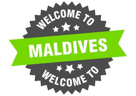 Maldives sign. welcome to Maldives green sticker Ilustração