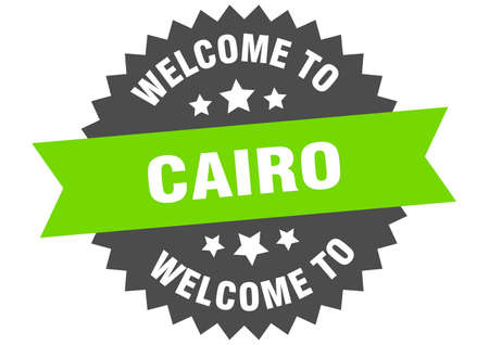 Cairo sign. welcome to Cairo green sticker