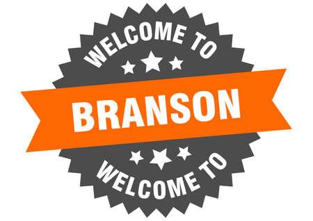 Branson sign. welcome to Branson orange sticker
