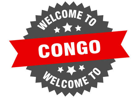 Congo sign. welcome to Congo red sticker Standard-Bild - 134556165
