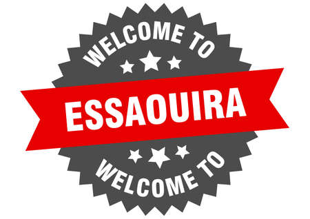 Essaouira sign. welcome to Essaouira red sticker
