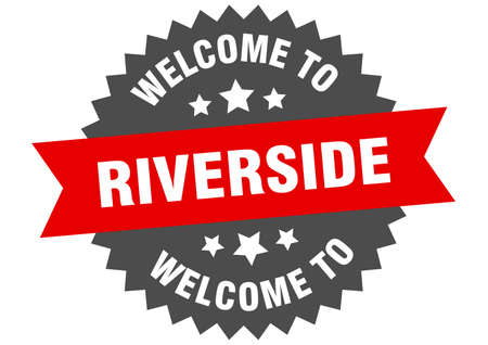 Riverside sign. welcome to Riverside red sticker