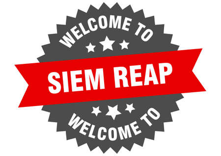 Siem Reap sign. welcome to Siem Reap red sticker