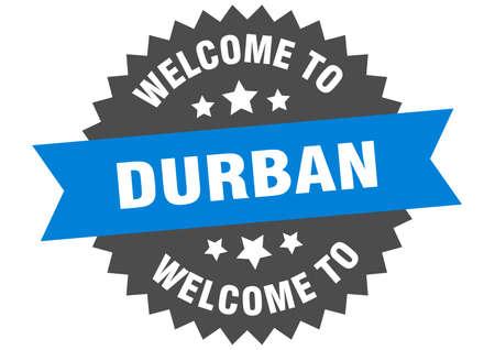Durban sign. welcome to Durban blue sticker