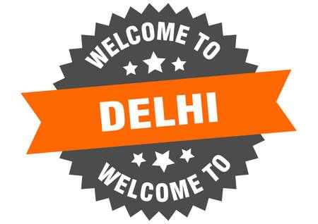 Delhi sign. welcome to Delhi orange sticker 일러스트