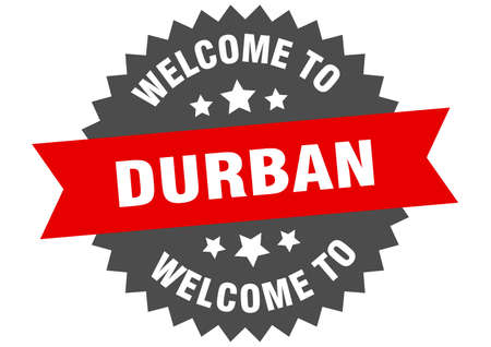 Durban sign. welcome to Durban red sticker Illustration