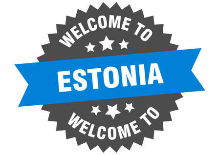 Estonia sign. welcome to Estonia blue sticker