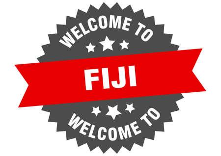 Fiji sign. welcome to Fiji red sticker Illustration