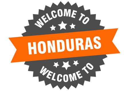 Honduras sign. welcome to Honduras orange sticker