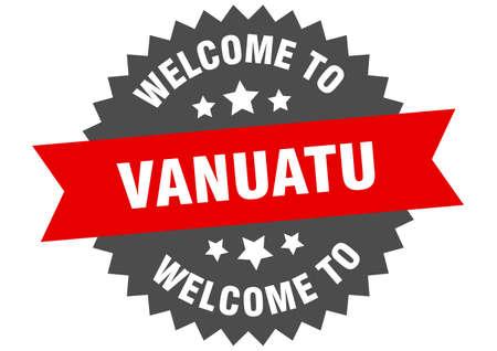 Vanuatu sign. welcome to Vanuatu red sticker