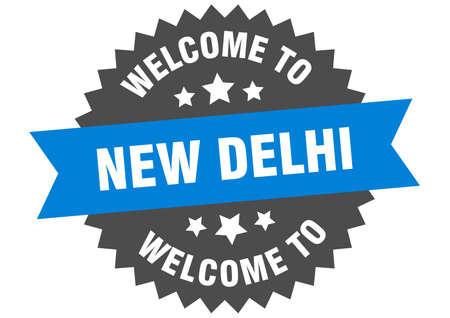 New Delhi sign. welcome to New Delhi blue sticker 일러스트