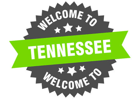 Tennessee sign. welcome to Tennessee green sticker