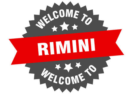 Rimini sign. welcome to Rimini red sticker