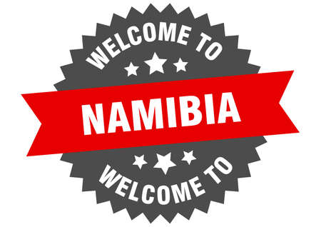 Namibia sign. welcome to Namibia red sticker