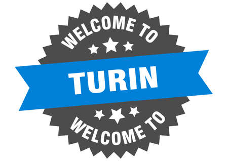 Turin sign. welcome to Turin blue sticker Vettoriali