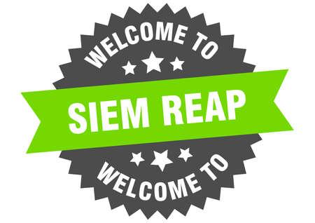 Siem Reap sign. welcome to Siem Reap green sticker