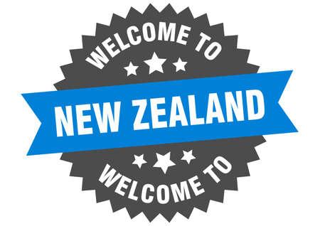 New Zealand sign. welcome to New Zealand blue sticker Ilustracja