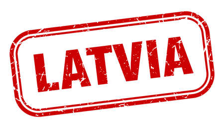 Latvia stamp. Latvia red grunge isolated sign