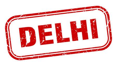 Delhi stamp. Delhi red grunge isolated sign