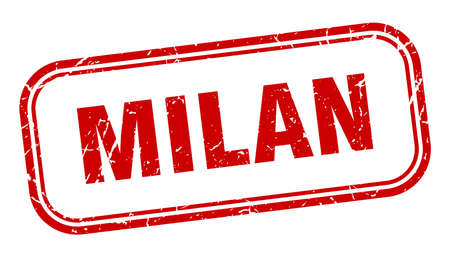 Milan stamp. Milan red grunge isolated sign