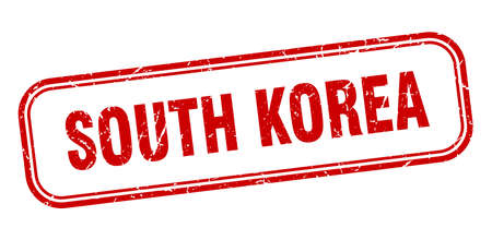 South Korea stamp. South Korea red grunge isolated sign Çizim