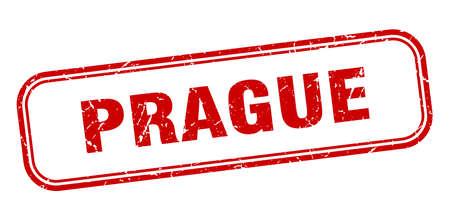 Prague stamp. Prague red grunge isolated sign