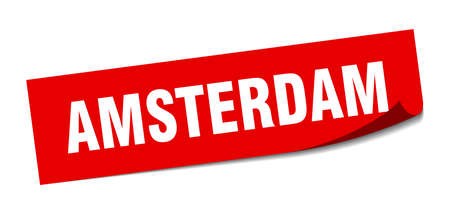 Amsterdam sticker. Amsterdam red square peeler sign 向量圖像