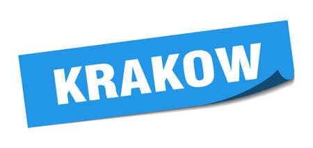 Krakow sticker. Krakow blue square peeler sign Ilustração