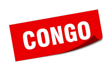 Congo sticker. Congo red square peeler sign Standard-Bild - 134754093